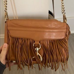 Rebecca Minkoff Brown leather Mini Mac with fringe